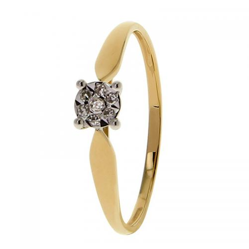 Or 9 Carats - Bague Or jaune et blanc 375 Diamant 09ZU56BB4 - Promotions