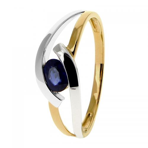 Or 9 Carats - Bague Or jaune et blanc 375 Saphir 09PU98BS - Promotions