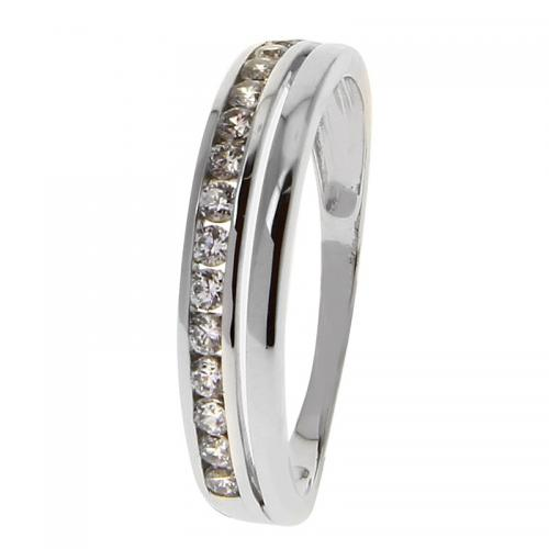 Or 9 Carats - Bague Or blanc 375 Zirconium 09SG08GZ - Promotions