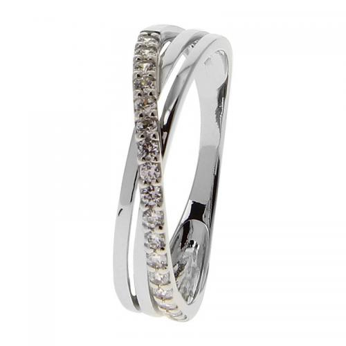 Or 9 Carats - Bague Or blanc 375 Zirconium 09SA80GZ - Promotions