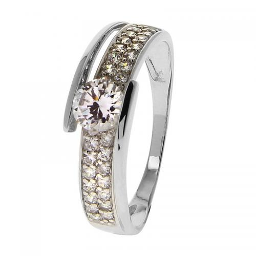 Or 9 Carats - Bague Or blanc 375 Zirconium 09SG61GZ - Promotions