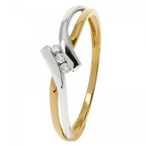 Or 9 Carats - Bague Or jaune et blanc 375 Diamant 09ZP01BB4 - Promotions
