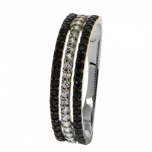 Or 9 Carats - Bague Or blanc 375 Zirconium 09SZ86DZX - Promotions