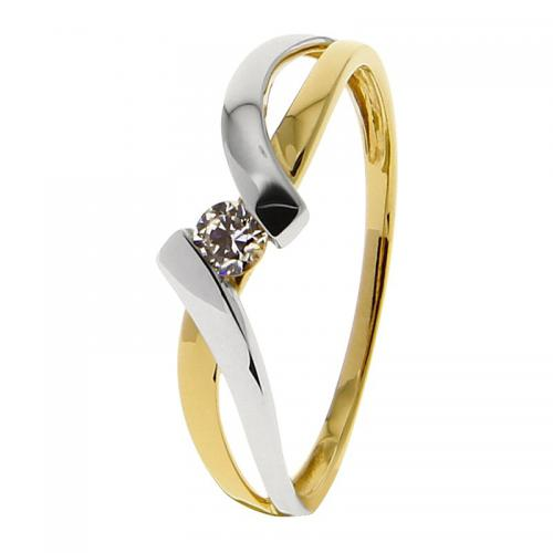Or 9 Carats - Bague Or jaune et blanc 375 Zirconium 09SD00BZ - Promotions