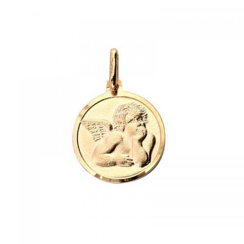 Or 9 Carats - Médaille Petit ange 15 mm - Or 9 Carats