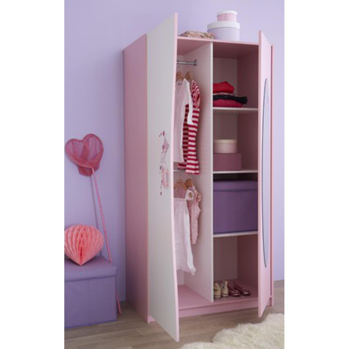 Armoire 2 portes avec miroir rose pastel blanc perle PIAMA