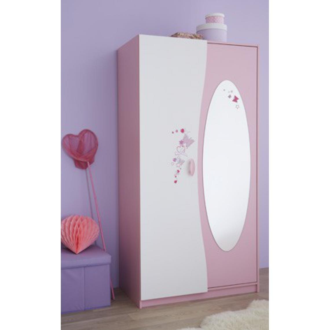Armoire 2 Portes Avec Miroir Rose Pastel Blanc Perle Piama 3 Suisses