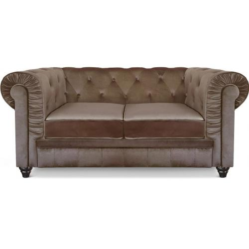 3S. x Home - Canapé chesterfield velours capitonné taupe 2 places - Canapé droit