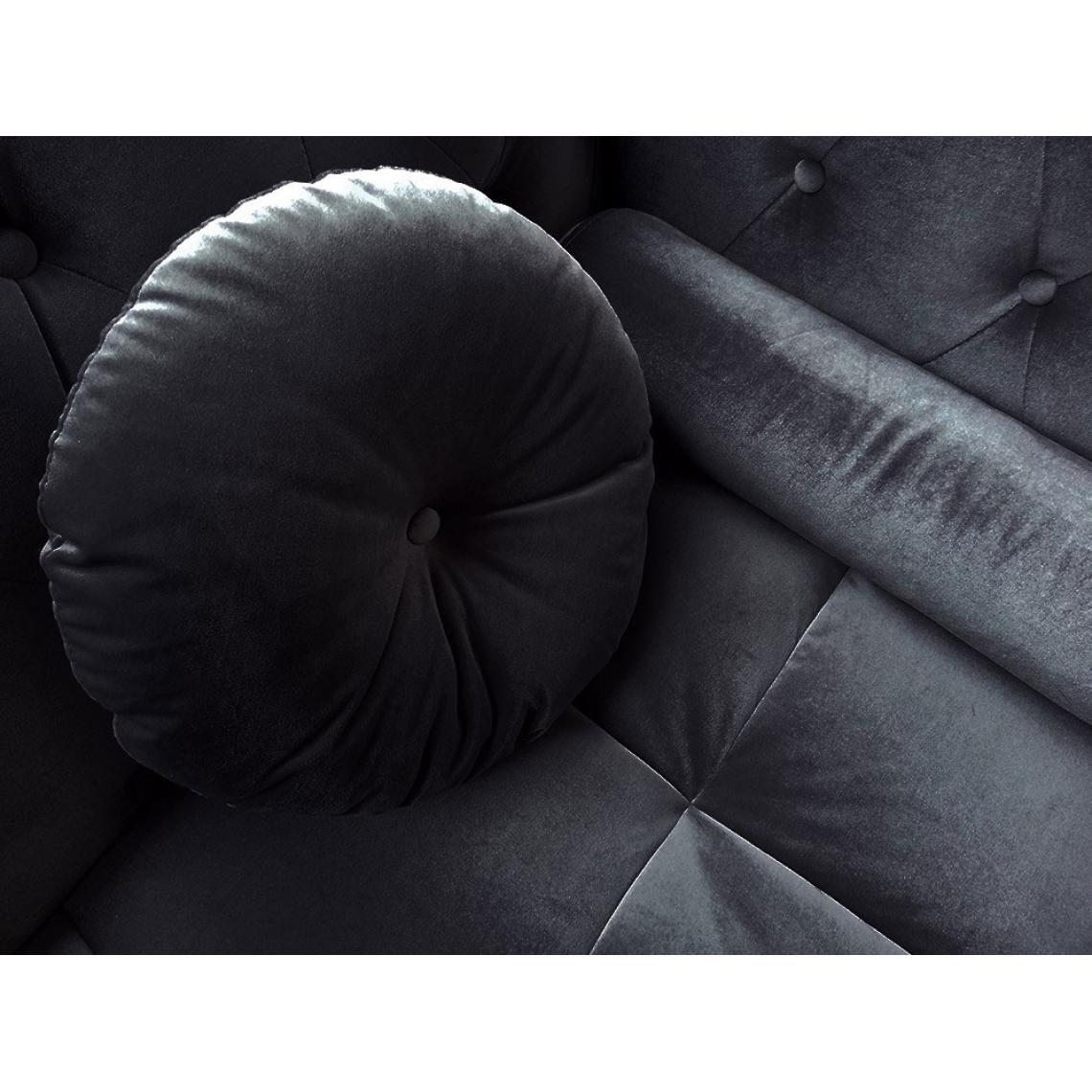 Canapé D Angle British Gauche Velours Noir Style