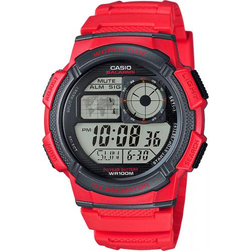 Casio - Montre Casio Collection AE-1000W-4AVEF - Montre Rouge Fuseaux Homme - Montre & bijou