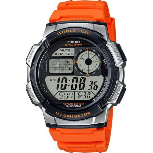 Casio - Montre Casio Collection AE-1000W-4BVEF - Montre Orange Fuseaux Homme - Montre & bijou