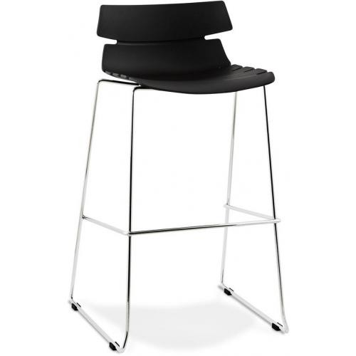 3S. x Home - Tabouret de bar design assise polypropylène noir KEY - Tabouret de bar