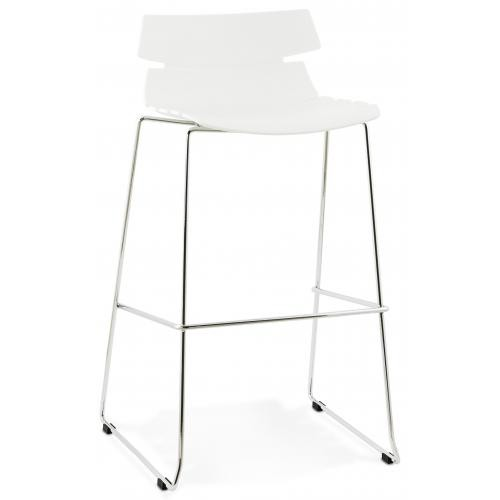 3S. x Home - Tabouret de bar design assise polypropylène blanc KEY - Tabouret de bar