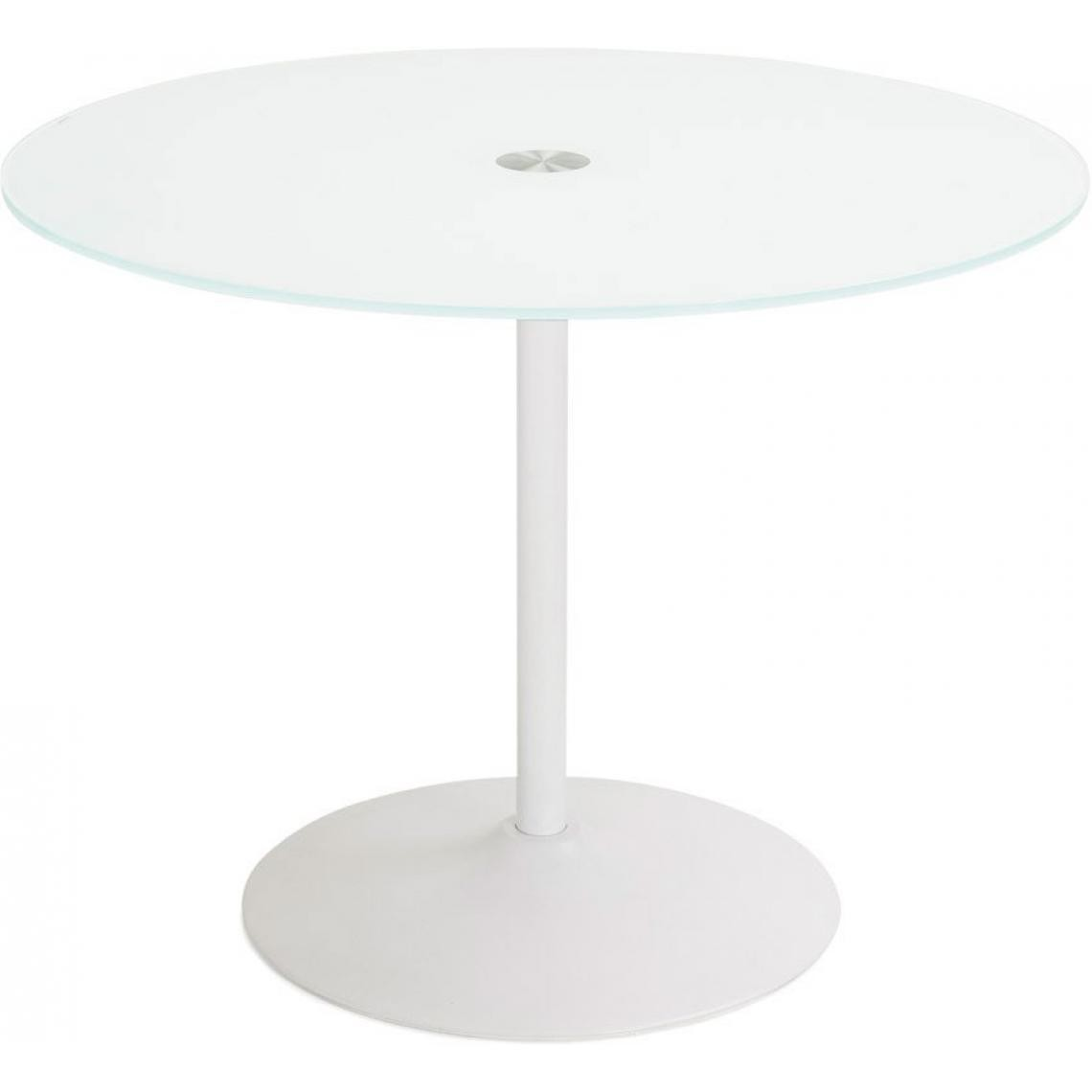 Table à Manger blanche ronde design plateau en verre ORLANDO