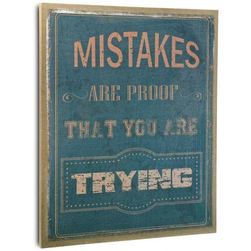 3S. x Home - Cadre déco en liège bleu L.56xl.46cm MISTAKES ARE PROOF YOU ARE TRYING - La déco