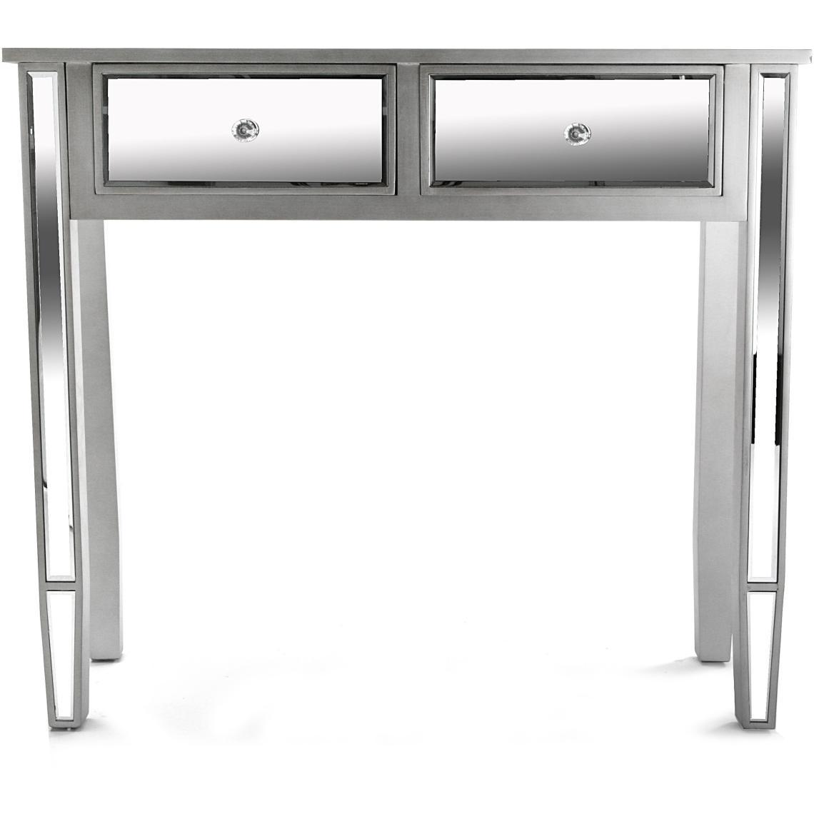 Petite console miroir 2 tiroirs CLEFFA