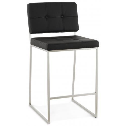3S. x Home - Tabouret de bar design Capitonné noir BARBIE - Tabouret de bar