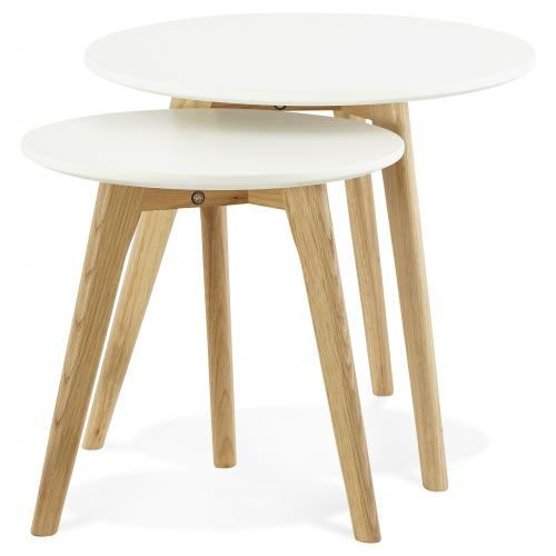 3S. x Home - Set de 2 tables basses rondes scandinaves blanches SIMONE - Table basse