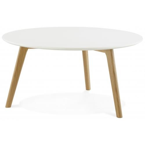 3S. x Home - Table basse blanche ronde scandinave ELSA - Table basse