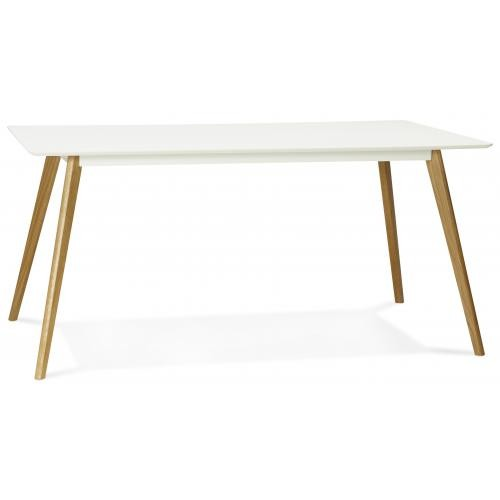 3S. x Home - Table à Manger rectangulaire blanche pieds bois CANDY - Table