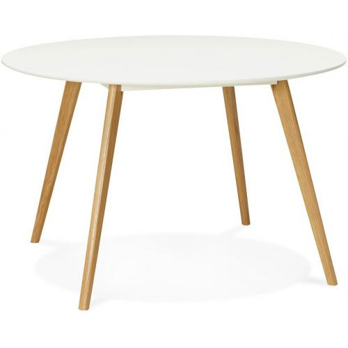 3S. x Home - Table à Manger ronde blanche pieds bois ZOEPER - Table