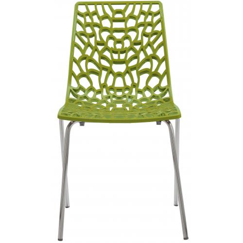 3S. x Home - Chaise Design Verte Anis TRAVIATA - Promo Meuble & Déco