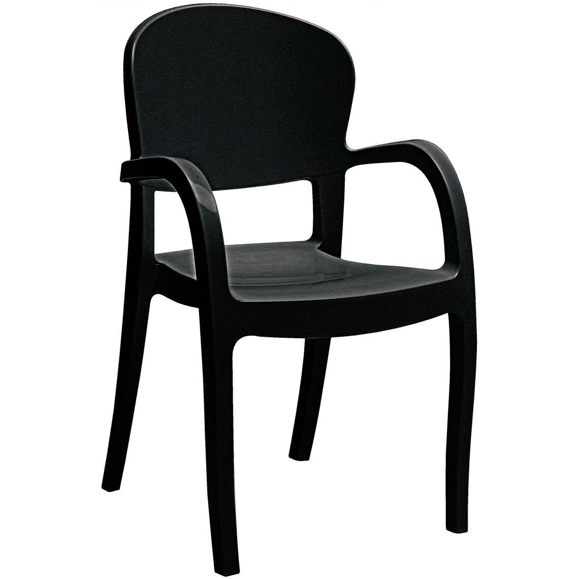 Chaise Design Noire Avec Accoudoirs GLAM