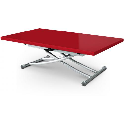 3S. x Home - Table basse relevable extensible rouge laquée KALI - Table basse