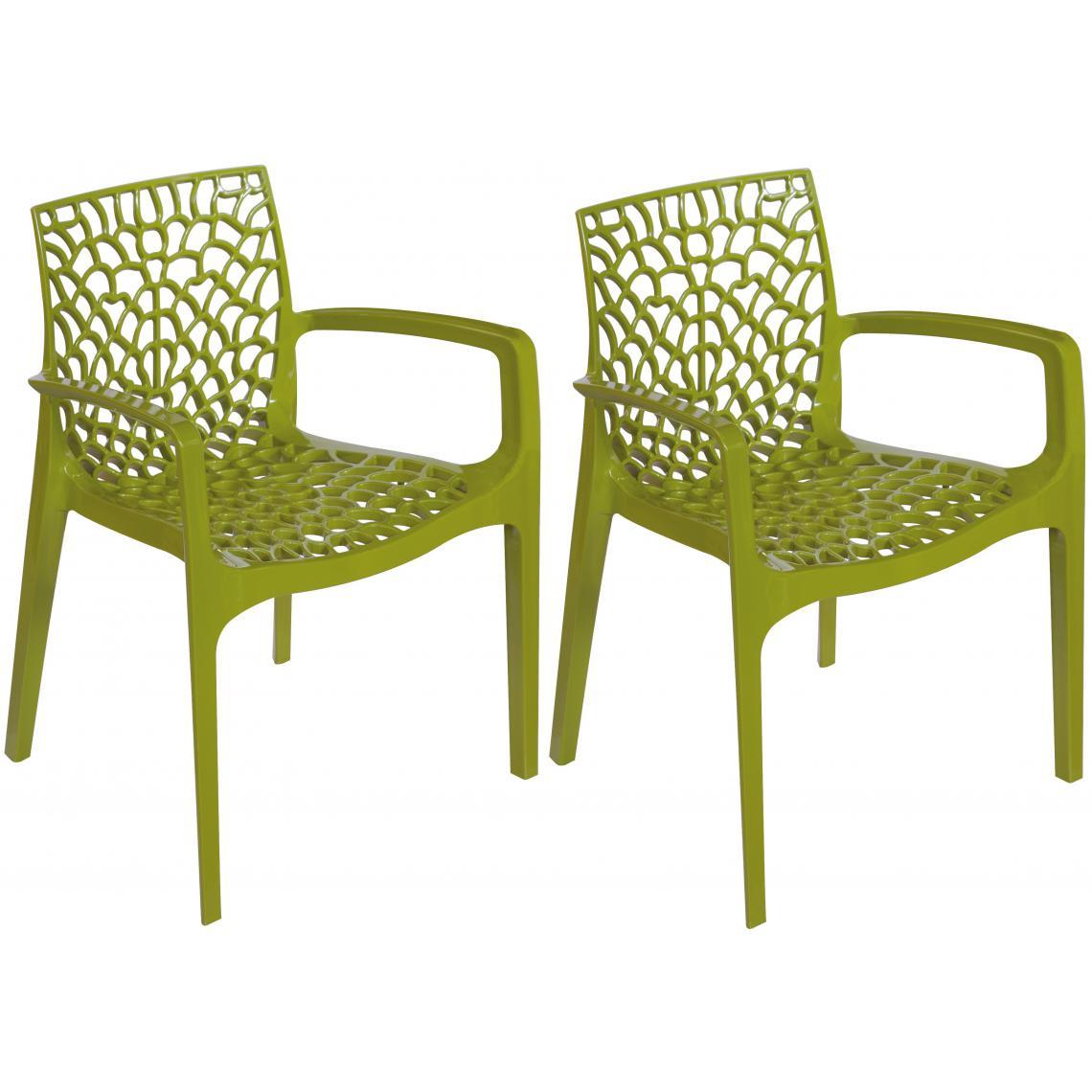 Meuble De Cuisine Vert Anis lot de 2 chaises vertes anis avec accoudoirs dentelle plus de détails