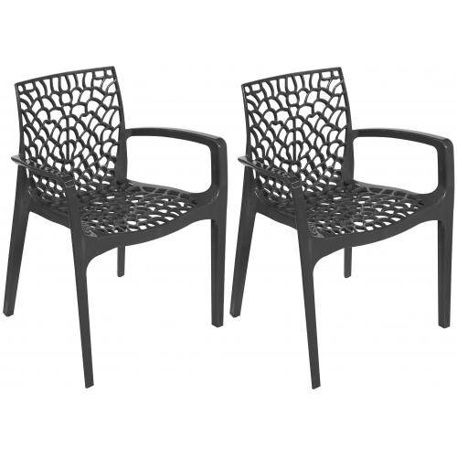 3S. x Home - Lot De 2 Chaises Anthracites Avec Accoudoirs DENTELLE - Chaise, tabouret, banc