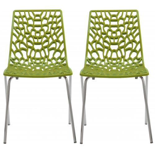 3S. x Home - Lot De 2 Chaises Vertes Anis TRAVIATA - Promo Meuble & Déco