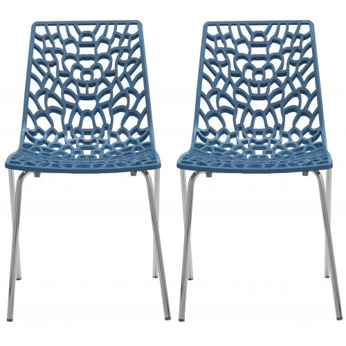 3S. x Home - Lot De 2 Chaises Design Bleues TRAVIATA - Chaise