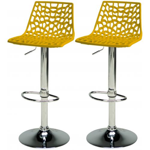 3S. x Home - Lot De 2 Tabourets De Bar Ajustables Jaunes SPARTE - Tabouret de bar