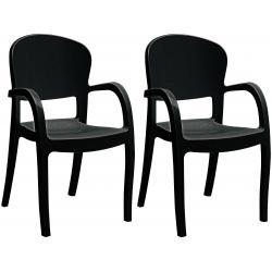 Lot De 2 Chaises Design Noires Avec Accoudoirs GLAM