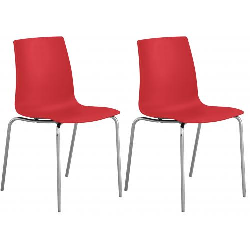 3S. x Home - Lot de 2 Chaises Design Rouges OLYMPIE - Meuble & Déco