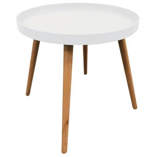 3S. x Home - Table Ronde Plateau Blanc DIU - Table basse