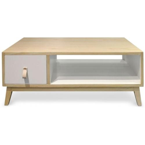 3 SUISSES - Table Basse Avec Tiroir Style Scandinave Blanc ACQUA - Le salon