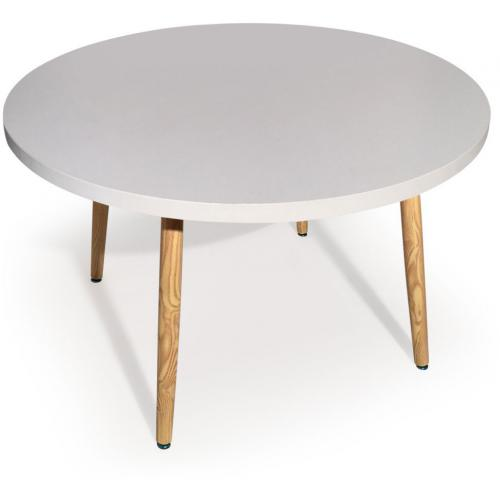 3S. x Home - Table Ronde Style Scandinave Blanc BLONDIE - Table salle à manger