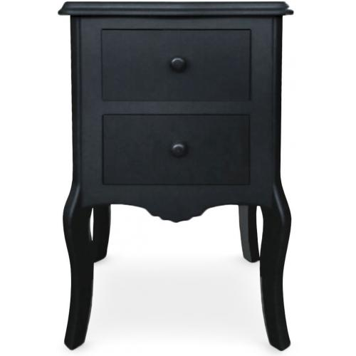 3S. x Home - Table De Chevet Noir 2 Tiroirs ROSARIA - Table de chevet