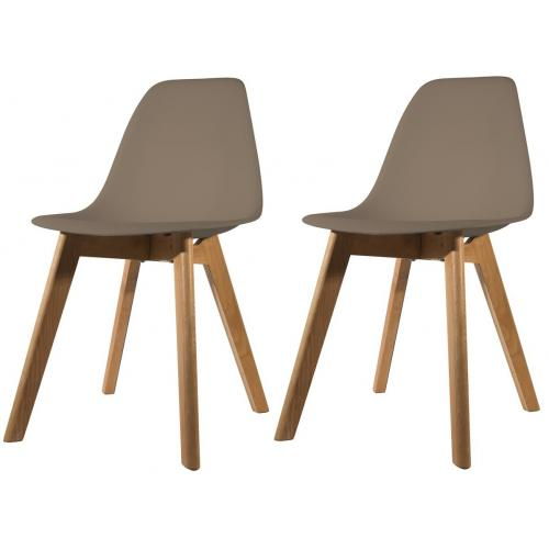 3S. x Home - Lot de 2 chaises Scandinave Coque Taupe ORKNEY