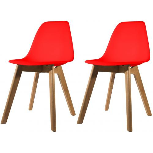 Lot de 2 chaises Scandinave Coque Rouge ORKNEY