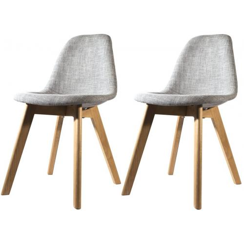 3S. x Home - Lot de 2 chaises Scandinave En Tissu Grise ORKNEY - Chaise