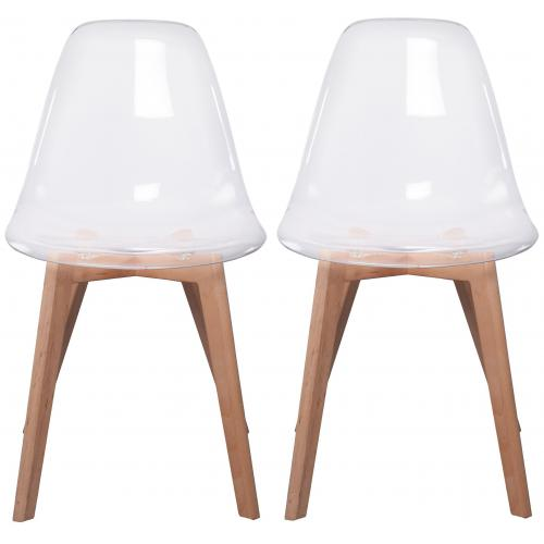 3S. x Home - Lot de 2 chaises Scandinave Transparente FJORD