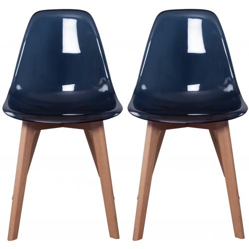 3S. x Home - Lot de 2 chaises Scandinave Transparente Noire FJORD