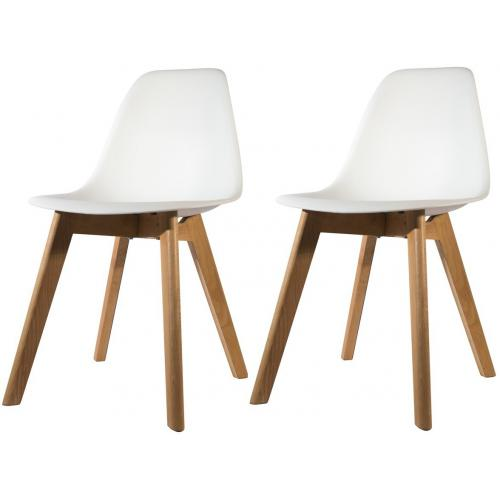 3S. x Home - Lot de 2 chaises Scandinave Coque Blanche ORKNEY - Scandinave