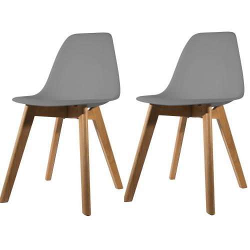 3S. x Home - Lot de 2 chaises Scandinave Coque Grise ORKNEY - Scandinave