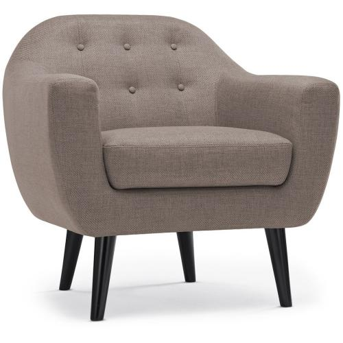 3S. x Home - Fauteuil scandinave Tissu Taupe OLAF - Fauteuil