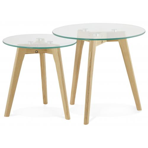 3S. x Home - Ensemble de deux tables basses avec plateau en verre transparent 50x50x45 cm GUILLET - Table basse