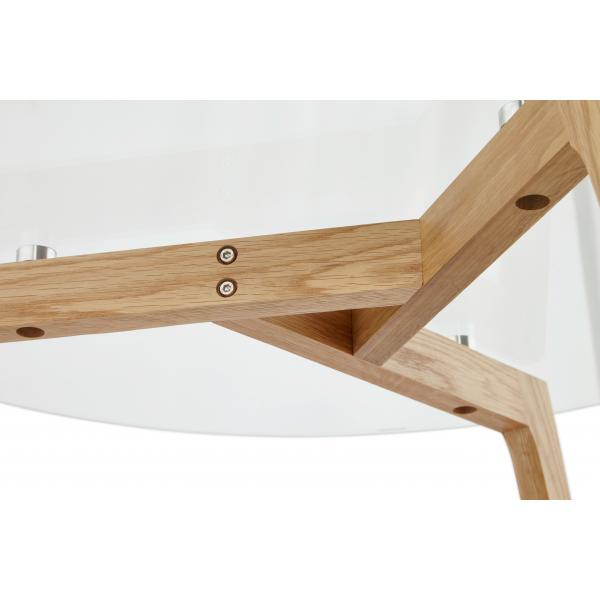 Table basse avec plateau en verre transparent 90x90x45 cm