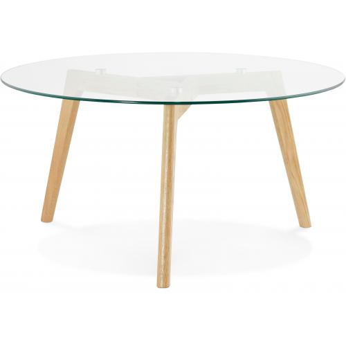 3S. x Home - Table basse avec plateau en verre transparent 90x90x45 cm TAMPERE - Table basse